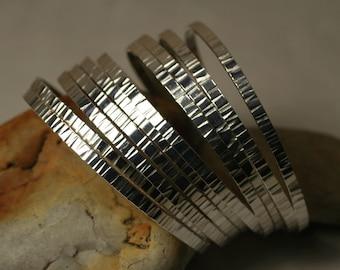 Stacking Bangle Bracelets, Silver Tone Bangles, Handmade Bangles, Hammered Bangles, one piece (item ID SPBW55)
