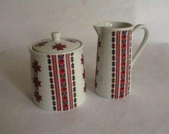 Vintage Ceramic Suger/Creamer Pitcher Set-Ukrainian Art-Made in Canada Design