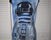 pretty blue R2D2 r2 d2 Star Wars inspired shredded backless braided crochet droid t shirt tank top
