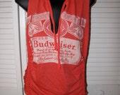 red Budweiser backless shredded braided crochet V neck tank top t shirt