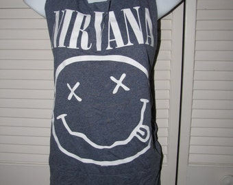 blue Nirvana 90s alternative rock band music shredded band music backless t shirt tank top one size fits most