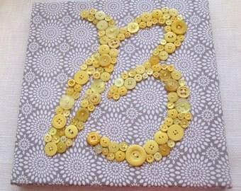 Nursery Letter Art, Button Letter B, Personalized Baby Kids Wall Art, Nursery Art Canvas, Button Art, Baby Shower Gift, Button Monogram