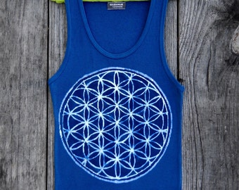 Yoga tank top batik flower of life eco friendly individually hand drawn hand painted & hand dyed - sacred geometry -  women blue