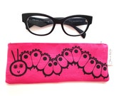 Hand Printed Pencil / Glasses Case by Jane Foster  - Caterpillar design linen fabric
