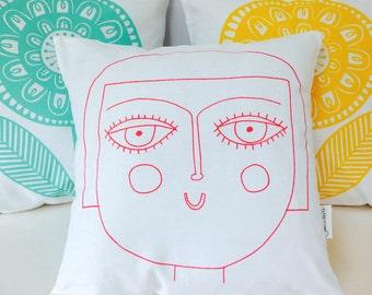 New Scandinavian Girl cushion pillow cover by Jane Foster - retro Scandi face illustration  - original artwork