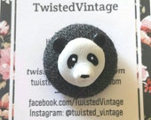 Fabric Covered Button PANDA Statement Ring Kitsch Kitschy Kawaii Recycled Button Jewelry ooak