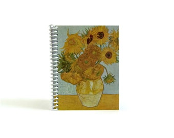 Sunflowers Spiral Notebook, Writing Journal, Back to School, Impressionist Art, Gifts Under 15, Blank Sketchbook, Diary, Pocket 4x6 Inches,