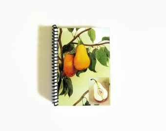Pear Notebook, Natural History, Spiral Bound Journal, Back to School Diary, Pocket, Garden, Blank A6 Sketchbook, Writing, Gifts Under 15