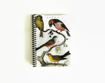 Birds on a Branch Blank Notebook Sketchbook Back to School Spiral Bound Natural History 4x6 Writing Diary Journal, A6, Pocket Gifts Under 15