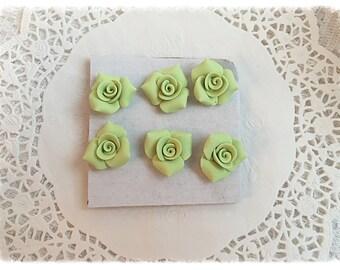PUSHPIN Spring Green Handmade Clay Roses Set of 6 Thumbtacks SVFteam ECS sct schteam