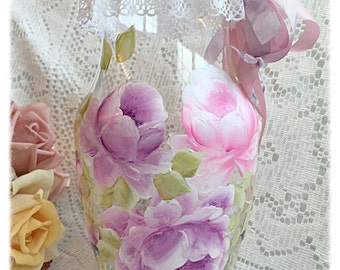 Glass VASE Shabby Cottage Chic Hand painted Pink/Lavender Roses ECS sct schteam