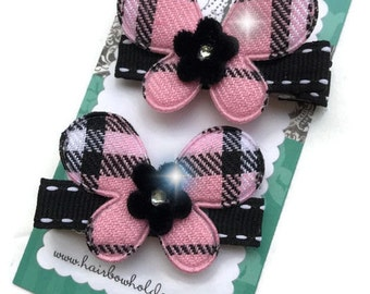 SET of 2 - Butterfly Plaid HAIR CLIPS with rhinestone bling Pink and Black - Diva Hair Bows sisters pigtails - Velcro hair bows for girls