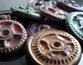 Steampunk gear polymer clay jewelry components (set of 2)