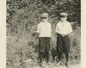 vintage photo 1920 Two Boys Jeff Caps Knicker Short Pants on the Side of Road