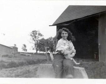 Vintage Snapshot 1950s Blue Jean Teen Girl Lots of Hair Cuddles Cat by Barn