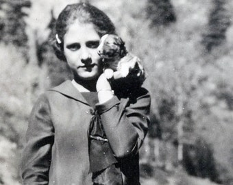 Vintage photo 1929 Cute YOung Teen Girl Holds Pit Bull Puppy dog Palm of Her Hand Unusual