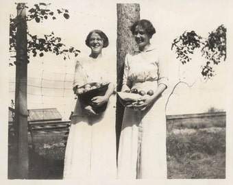 vintage photo Two young women Holding Baskets of fresh picked Apples 1914