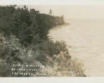 vintage photo Point Nipigon on the Straits Cheboygan Michigan Petoskey RPPC