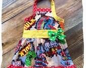 Girl SuperHero Dress Halter  Spiderman Captain American Hulk Iron Man Birthday Size 3m 6m 9m 9 12 18 24 month 2 2T 3 3T 4T 4 5T 5 6 7 8