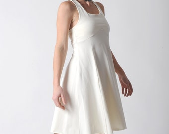 White flared dress, White womens jersey dress with crossed straps, White summer cotton dress, Simple wedding dress, White jersey dress