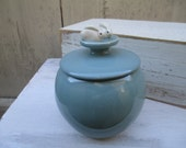 Bunny Robins Egg Blue Jar-Hand sculpted wheel thrown stoneware and porcelain pottery