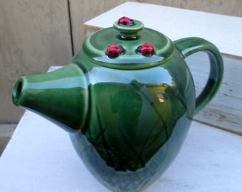 Ladybugs in the Tall Grass Teapot - Handmade Carved Stoneware Pottery
