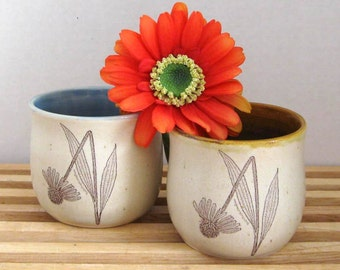 Set of 2 Tumblers - Juice Cups - Ready to Ship - Hand Thrown Stoneware