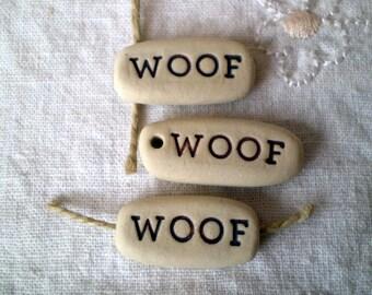 Woof Beads, Dog Lover Beads, Dog Beads, Pottery Puppy Beads, Clay Doggie Beads, Ceramic Animal Beads