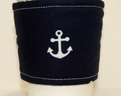 Coffee Cozy, Cup Sleeve, Eco Friendly Slip-on: White Anchors on Navy Blue
