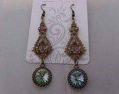 Vintage Victorian Antique gold Chandelier Crystal Iridescent green earrings