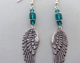 Angel Wings chandelier earrings teal aqua  silver earrings