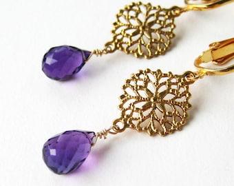 Amethyst Clip On Earrings, Brass Filigree Purple Amethyst Teardrop Clipons, Round Gold Medallion Dangle Clip Earrings, Handmade, Chantal