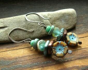 Aqua and Tan flower earrings Earthy rustic earrings wire wrapped earrings Czech glass bead earrings Bohemian earrings sea colored earrings