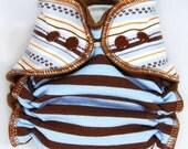 Cloth Diaper Small AI2 Wind Pro (Big Newborn) - Combo: Blue/Brown Stripes and Pawprint Stripes - WindPro All in Two Cloth Nappy  - Unique