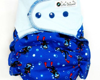 Made to Order Cloth Diaper or Diaper Cover - Come Dive With Me (Woven) with Light Blue Stretchy Wings - Custom Nappy or Wrap - Scuba Diving