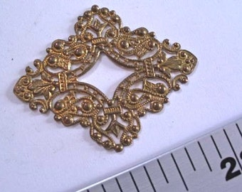 Recast Filigree Piece MB634. Vintage replica filigree, brass, jewelry supply, jewelry making supply. Rectangle filigree. Diamond shape.