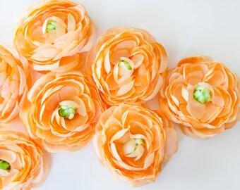 3 Coral Orange Sorbet Ranunculus - 3.5 Inches  ... silk flower, artificial flower, millinery craft - ITEM 0682