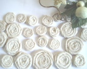 Wholesale 25+ Tea Stained Rolled Fabric Flowers - Rosettes, Weddings, Hair Clips, Fiber Jewelry, Pillows, Frames, Scrapbooking, Ect.