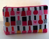Nail Polish Cosmetic Bag, Nail Polish Zippered Pouch, Medium Zippered Pouch, Toiletries Bag, Cosmetic Bag, Handmade