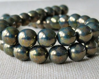 8mm Green Turquoise Bronze Picasso Czech Glass Bead Round Druk : 25 pc 8mm Turquoise Round