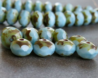 Baby Blue Picasso Czech Glass Beads 8x6mm Faceted Rondelle : 12 pc Blue Czech Bead