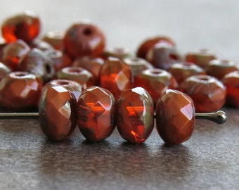 5x3mm Opal Orange Brick Czech Glass Picasso Bead Faceted Rondelle : Full Strand Rondelle