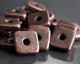 Bronze Patina Metallized 8mm Square Mykonos Greek Ceramic Square Washer : 20 pc Ceramic Spacer Bead
