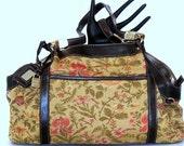 Vintage Hobo Bag Floral Tapestry Shoulder Bag w Leather Trim Liz Clairborne