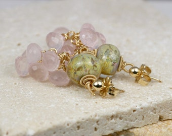 Lampwork Earrings - Earrings - Gemstone Earrings - Wire Wrapped Earrings - Dangle Earrings - Rose Quartz Earrings - Cluster Earrings