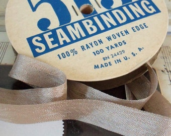 Vintage / Rayon Seam Binding / Tan / Five Yards