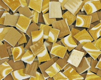 Mosaic China Tiles 155 Golden Mustard Abstract Yellow Solid & Swirl Hand Cut Vintage Pieces