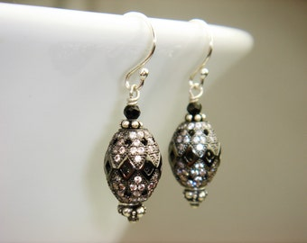 Oxidized Sterling Silver Pave CZ and Black Spinel Earrings