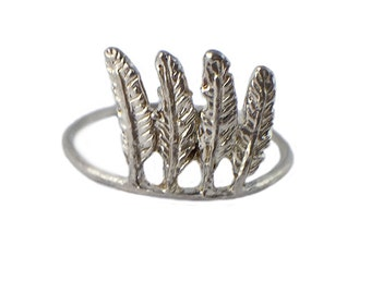 FEATHER RING silver gold stacking stackable