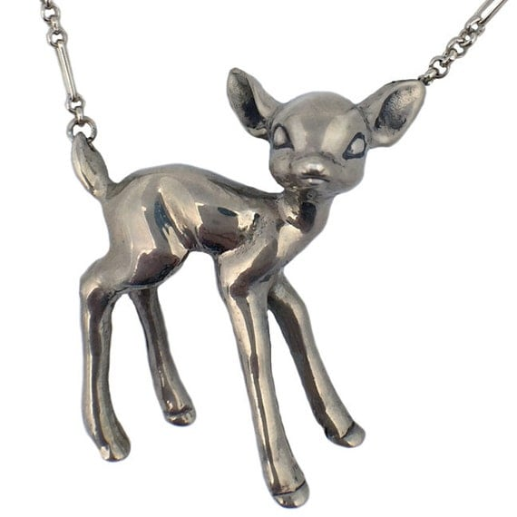 Deer Necklace fawn bambi standing